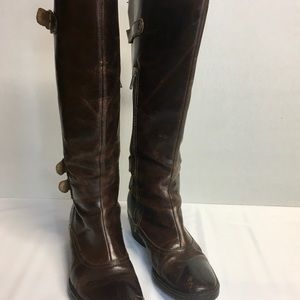 Born Brown Zip Knee High Leather Boots Buckles 6